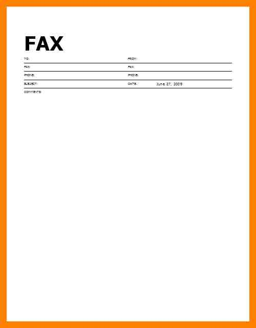 Perfect Word Fax Cover