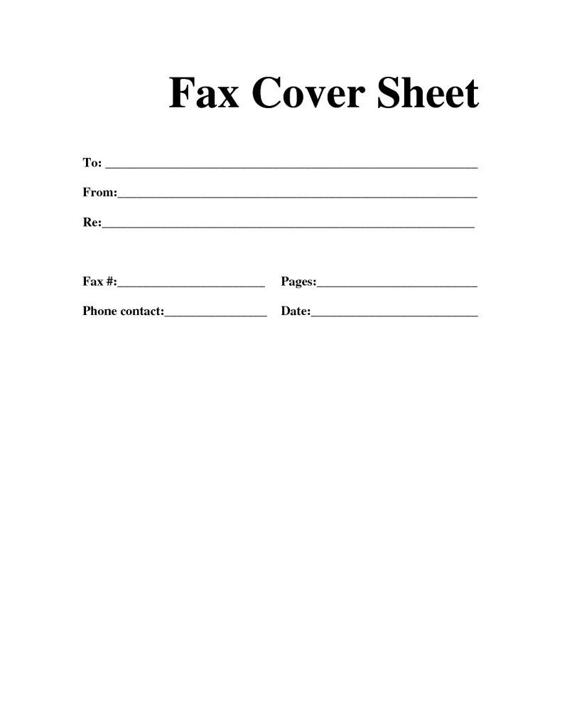 Personal Fax Cover Sheet Template