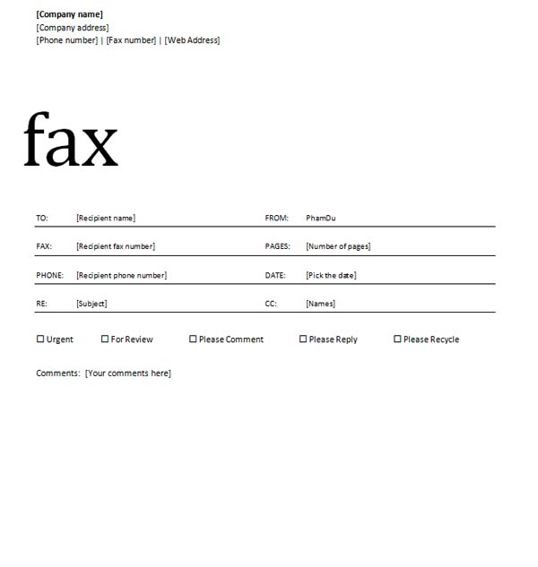 Fax cover sheet design, fax cover sheet with block design
