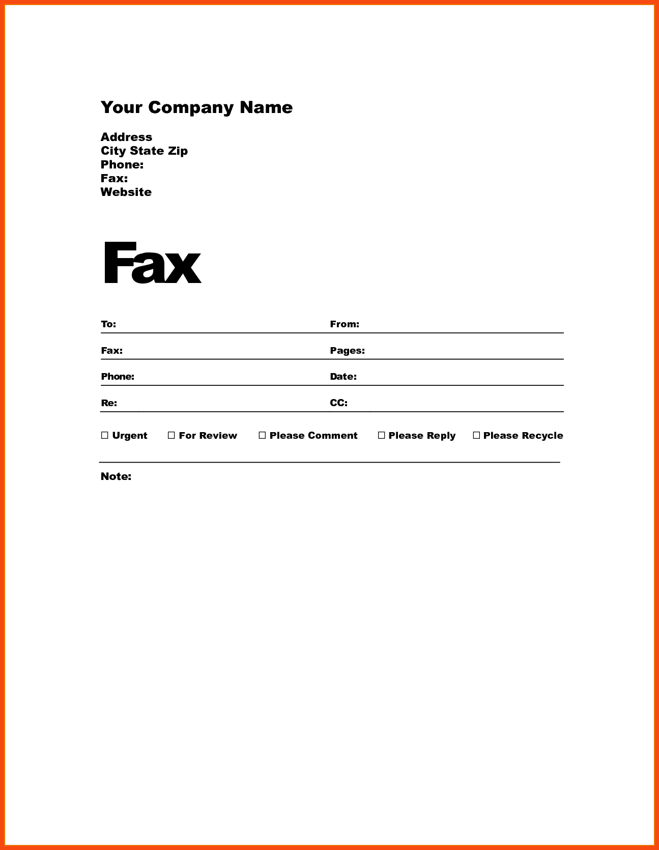 Professional Fax Cover Sheet, Fax Cover Sheet Printable