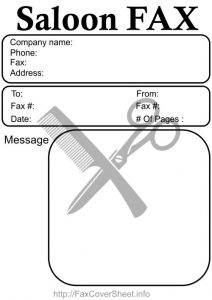 Sample Salon Fax Cover Sheet
