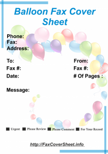 DownloadBalloons Fax Cover Sheet