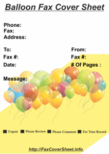 Free Balloons Fax Cover Sheet