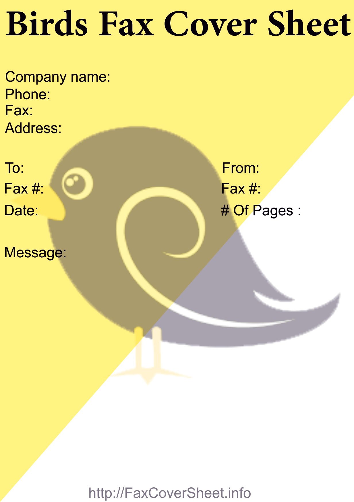 Download Birds Fax Cover Sheet