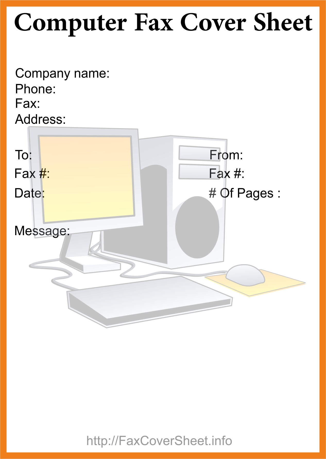Download Computer Fax Cover Sheet Template