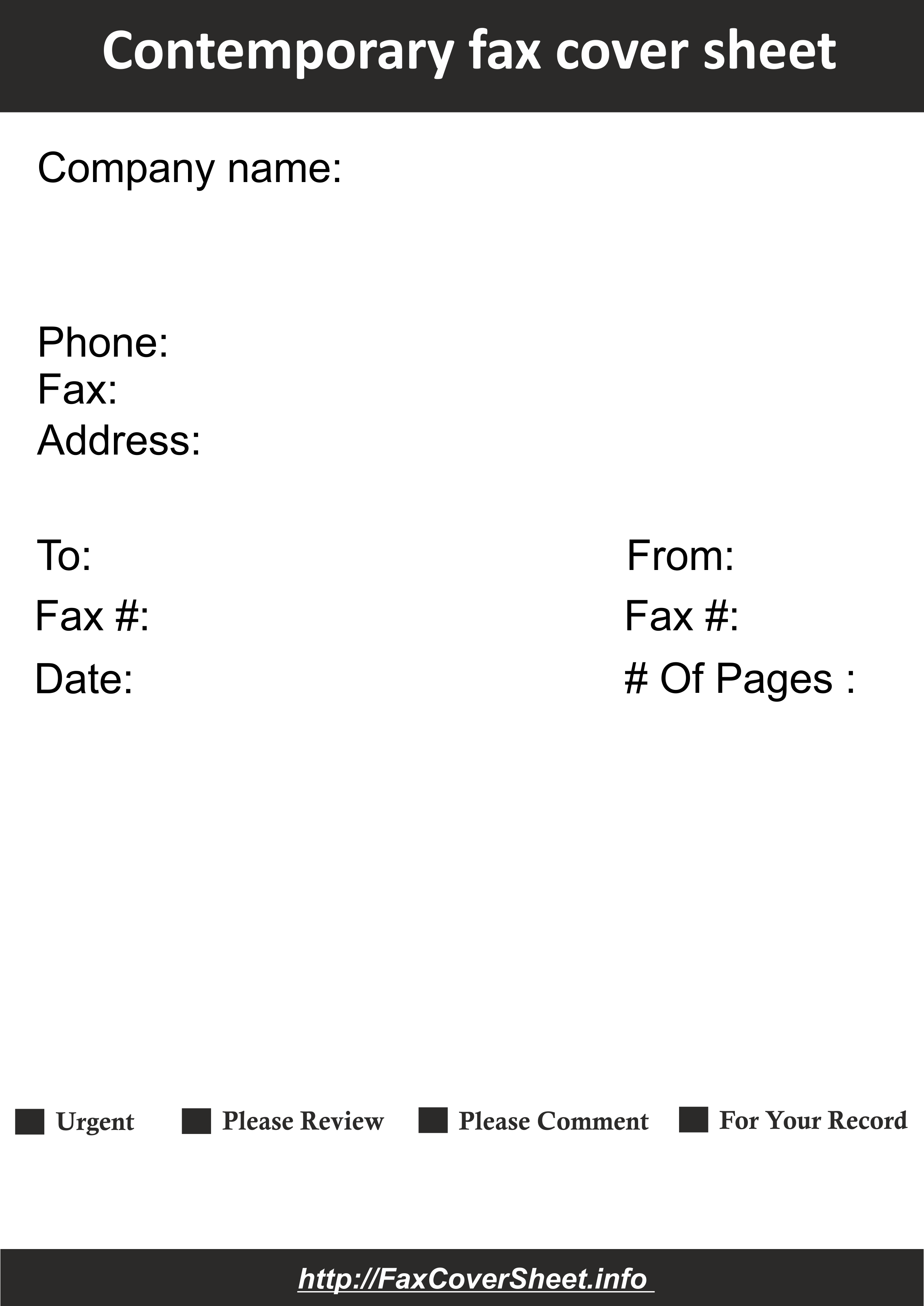 Contemporary Design Fax Cover Sheet Template