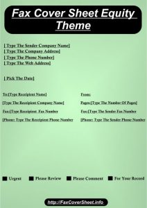 Free Sample Equity Fax Cover Sheet