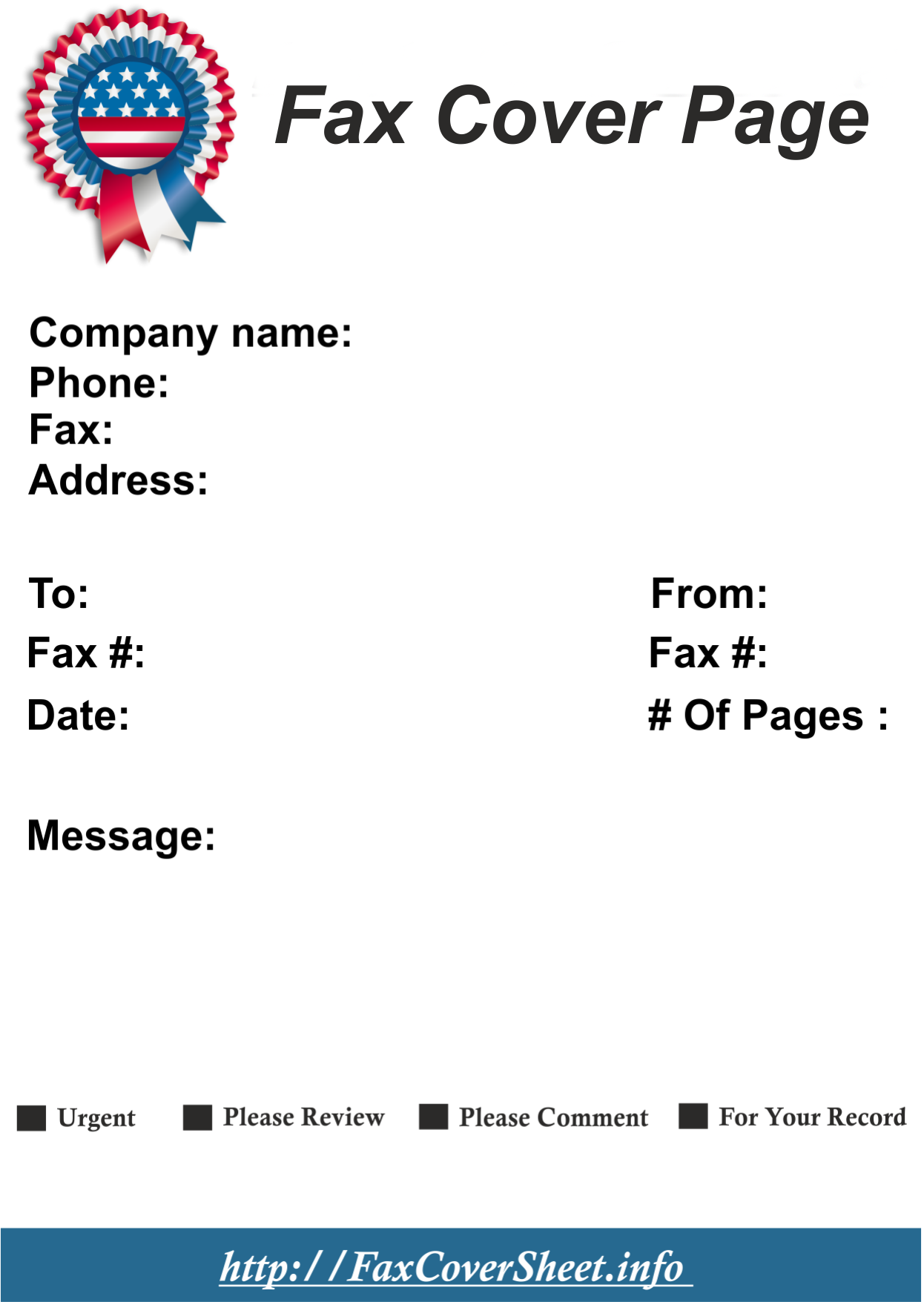 Sample Fourth of July Themed Fax Page