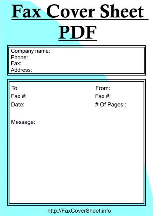 Fax Cover Sheet PDF