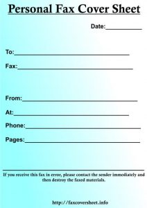 Personal Fax Cover Sheet,