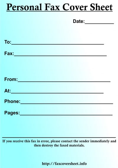 Personal Fax Cover Sheet, fax cover sheet personal