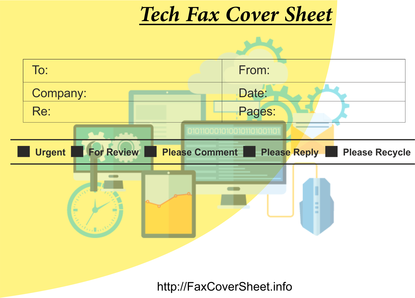 Fax Cover Sheet with Tech DesignProfessional, Download Fax Cover Sheet with Tech DesignProfessional