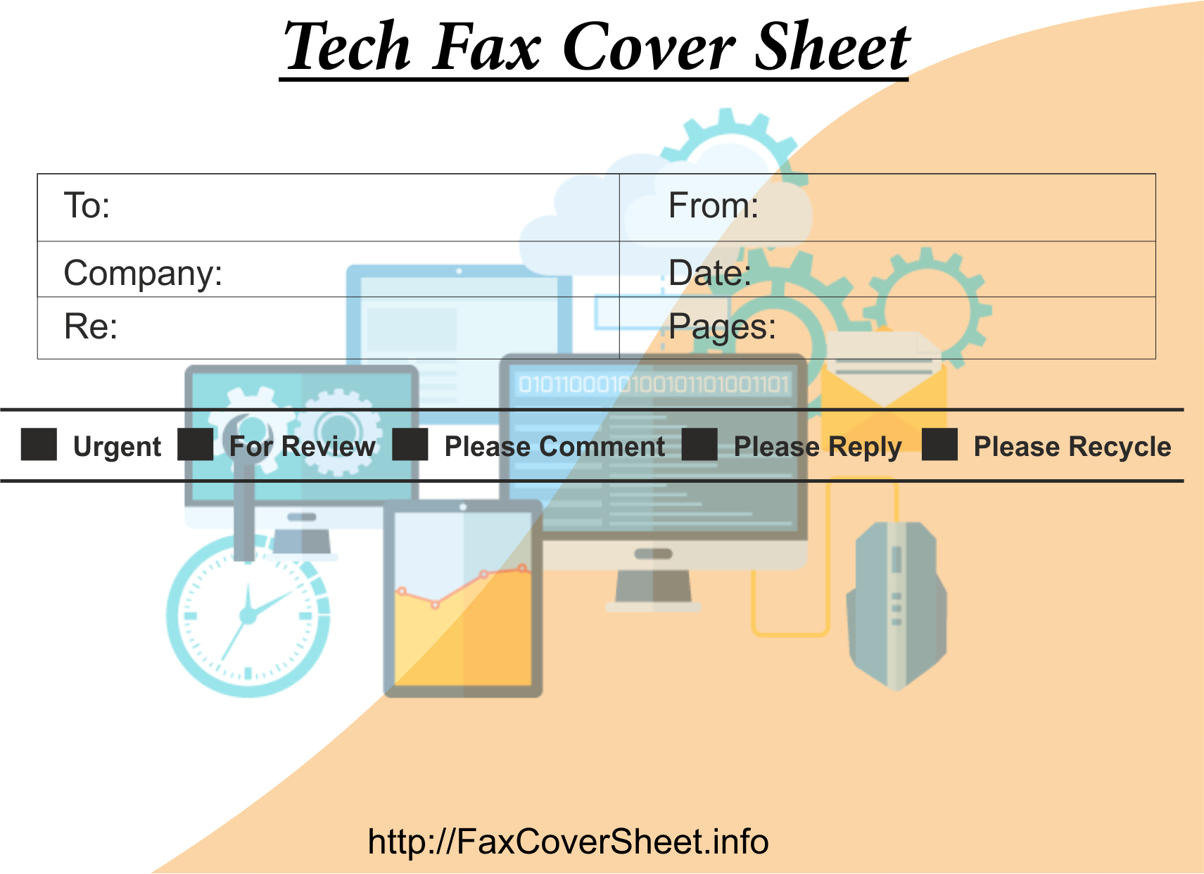 Fax Cover Sheet with Tech Design Templates, free Fax Cover Sheet with Tech Design