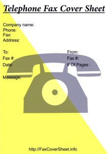 telephone fax cover sheet