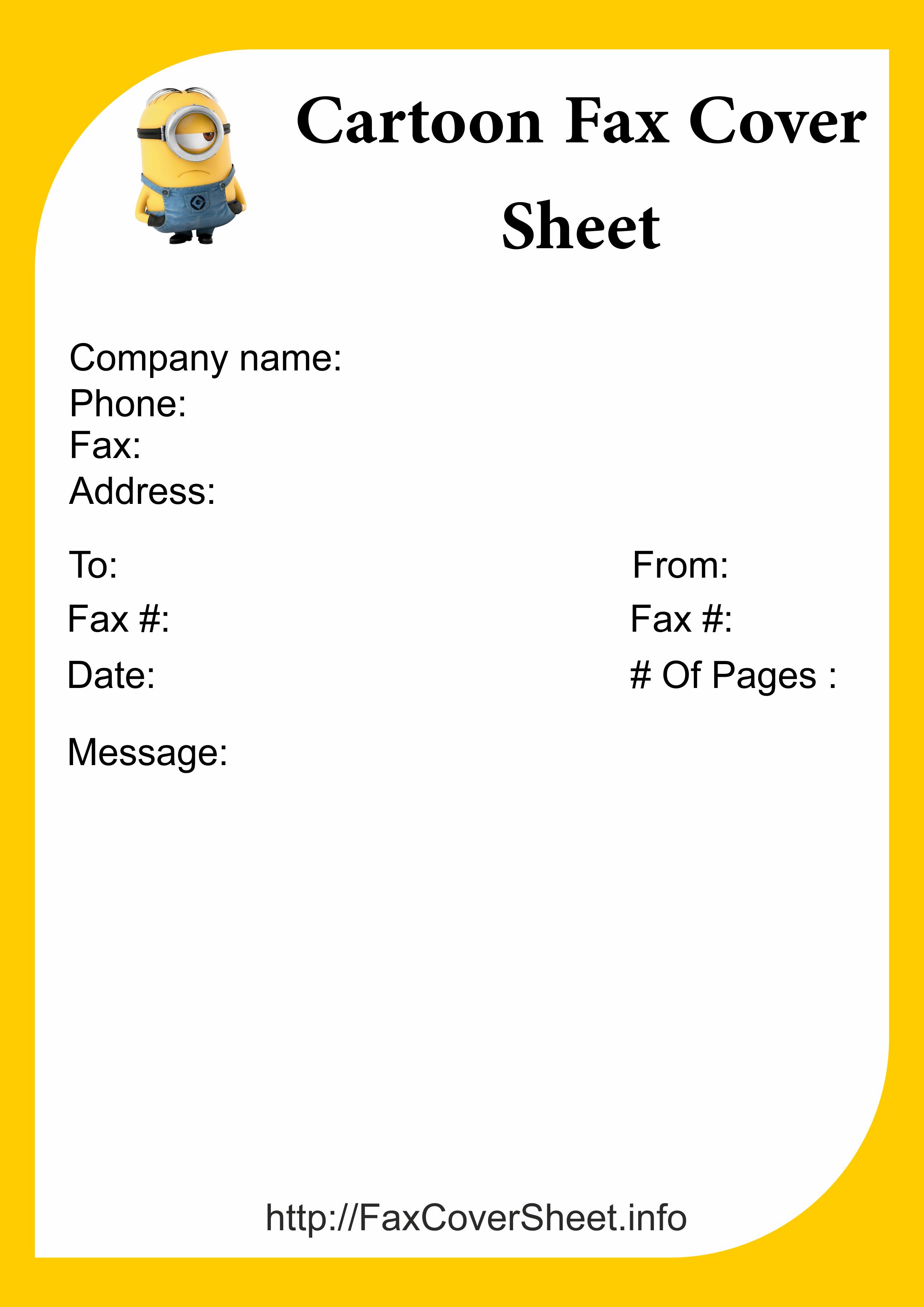 cartoon fax cover sheet Template