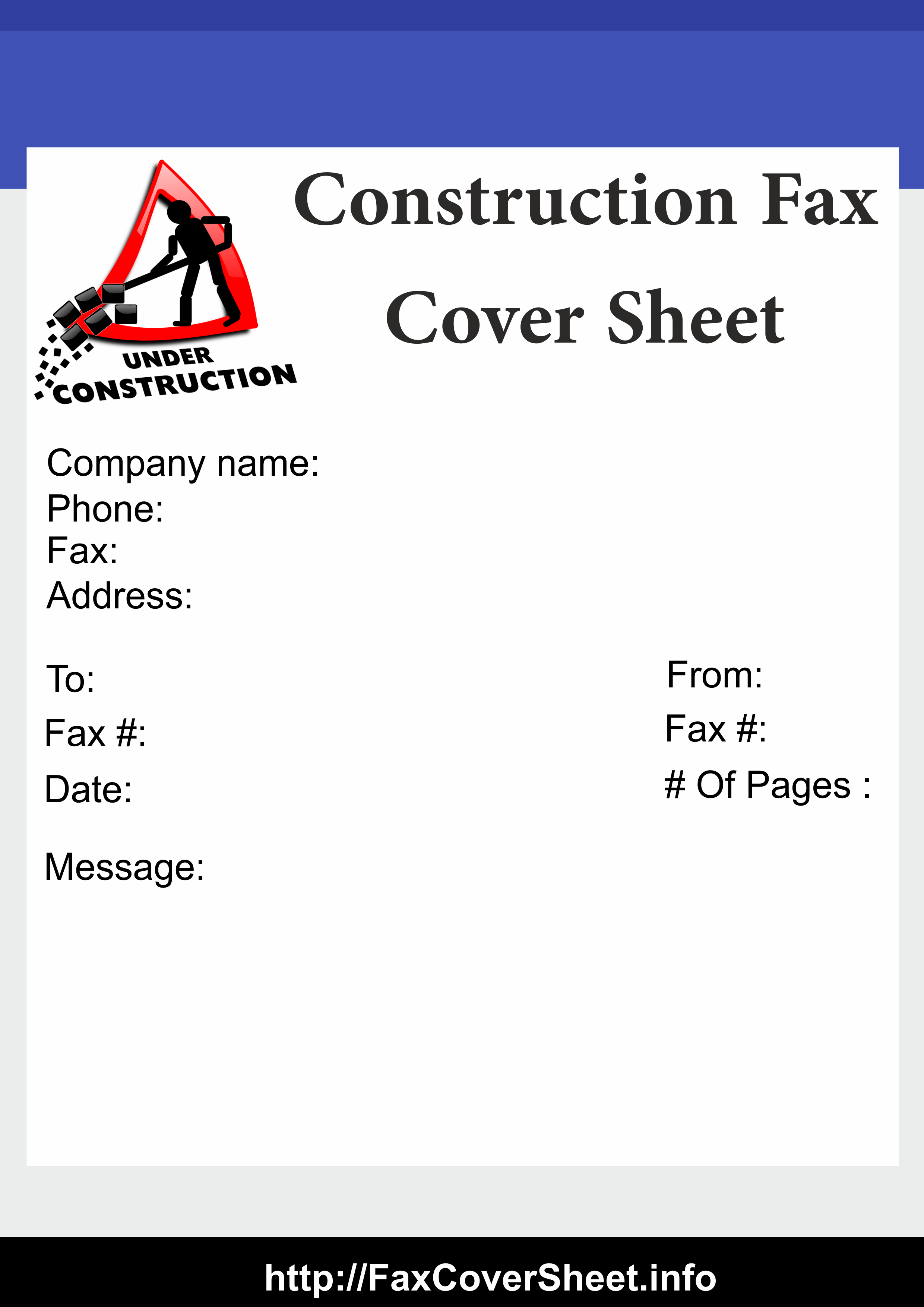 Printable Construction Fax Cover Sheet Template Free Fax Cover