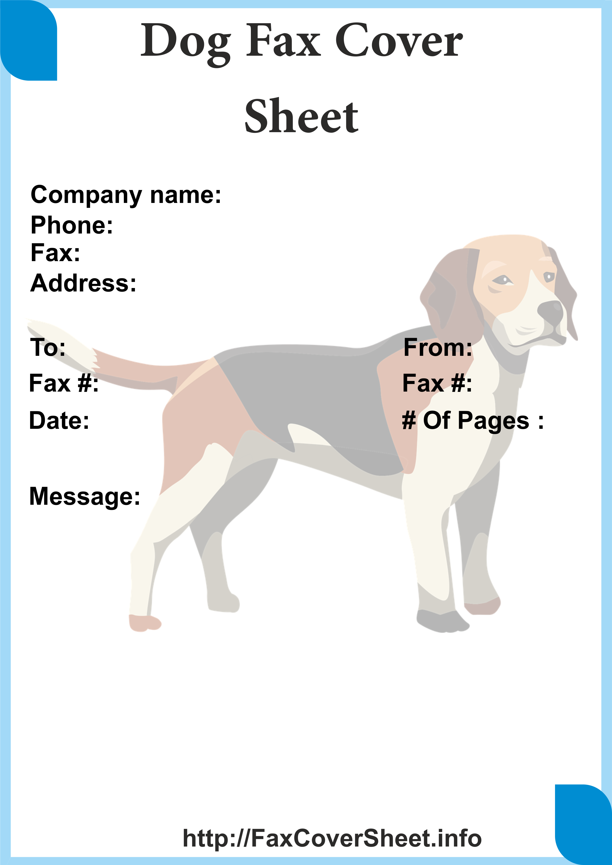 Dogs Fax Cover Sheet