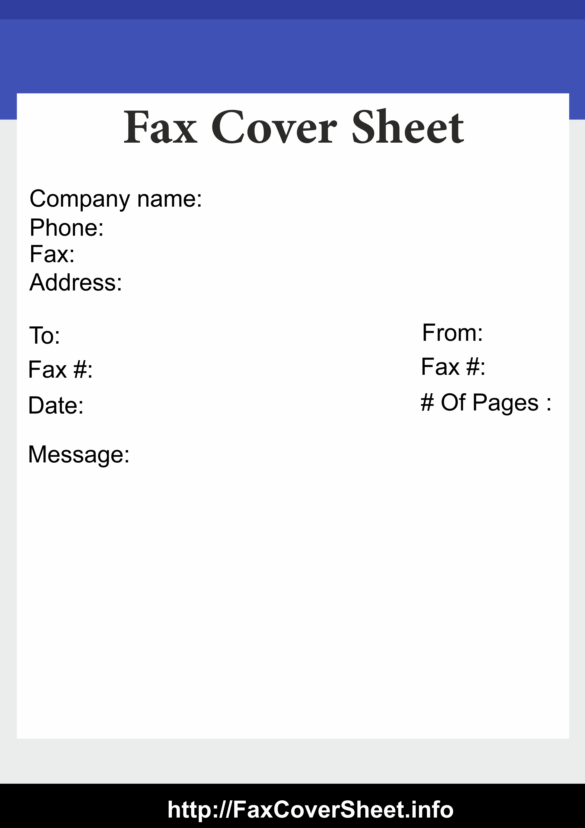 Printable Blank Fax Cover Sheet Templates Free Fax