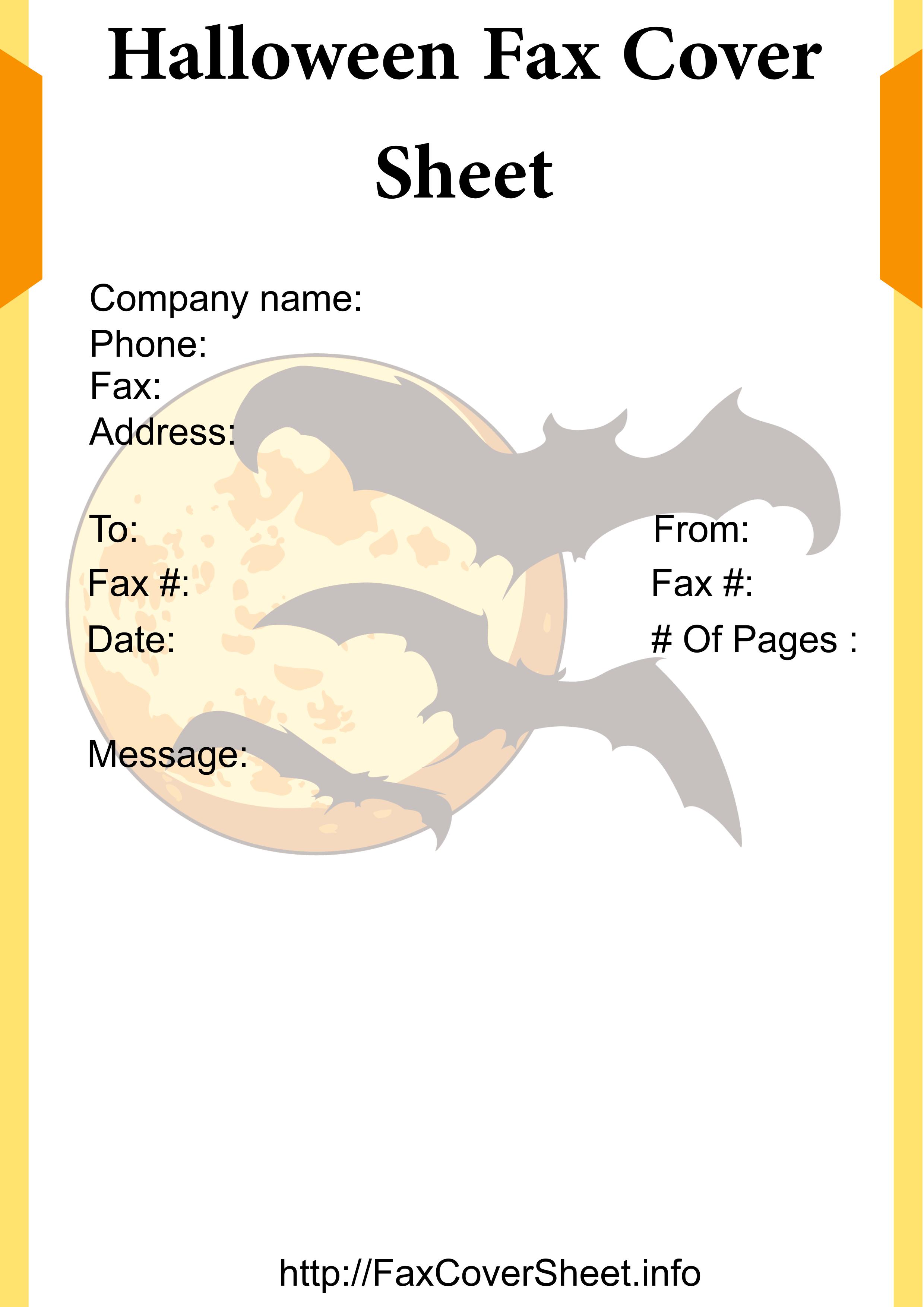 Halloween Fax Cover Sheet Template