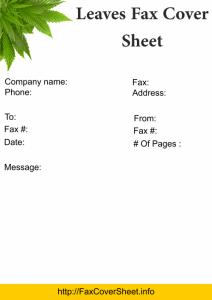 Leaves Fax Cover Sheet