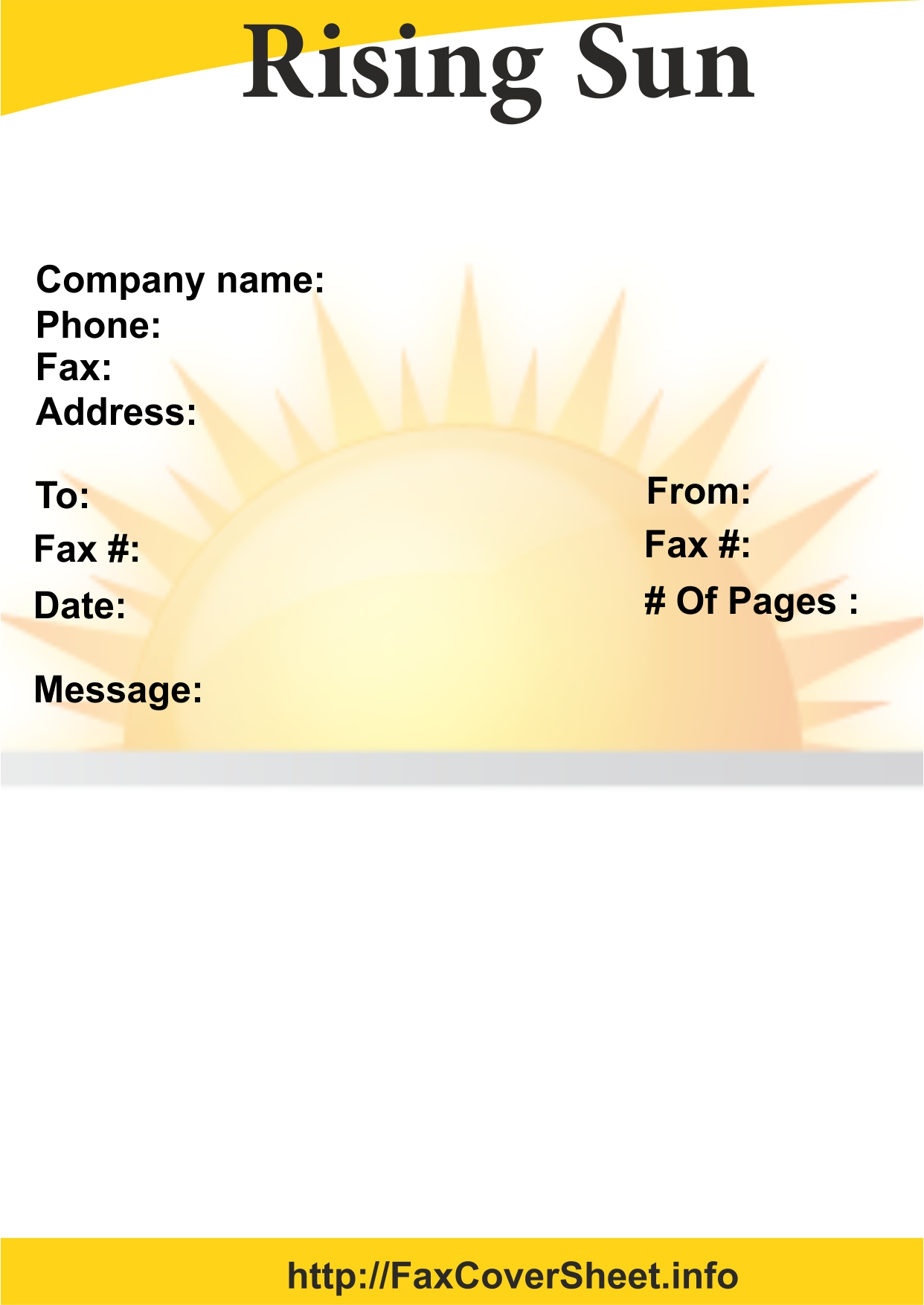 SUN RISING FAX COVER SHEET
