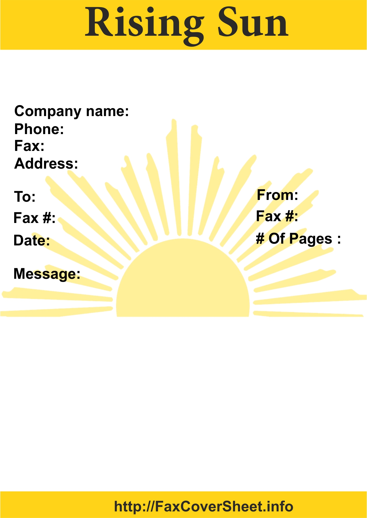 Rising Sun Fax Cover Sheet Template
