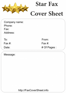 Printable Star Fax Cover Sheet Template