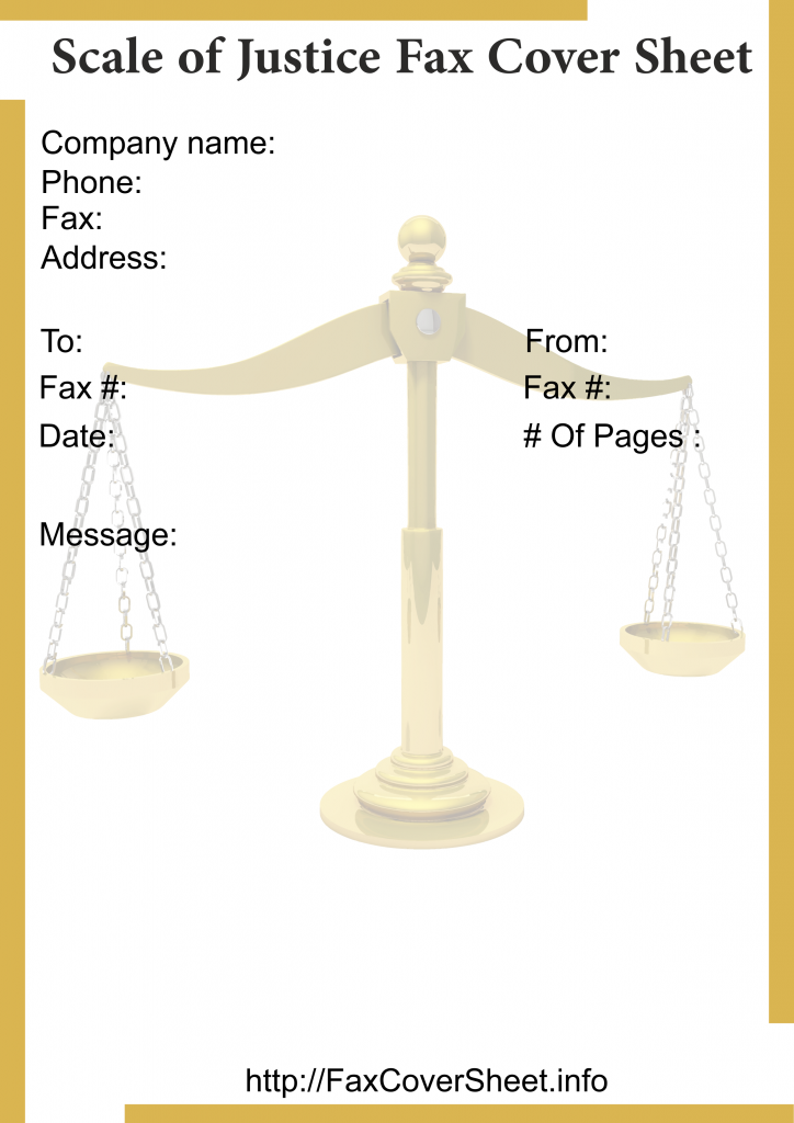 Scales of Justice Fax Cover Sheet Templates