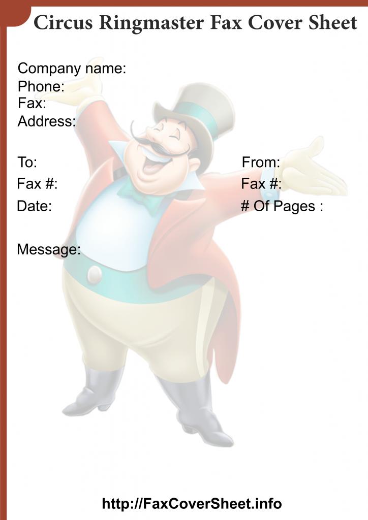 sample circus ringmaster fax cover sheet templates free fax