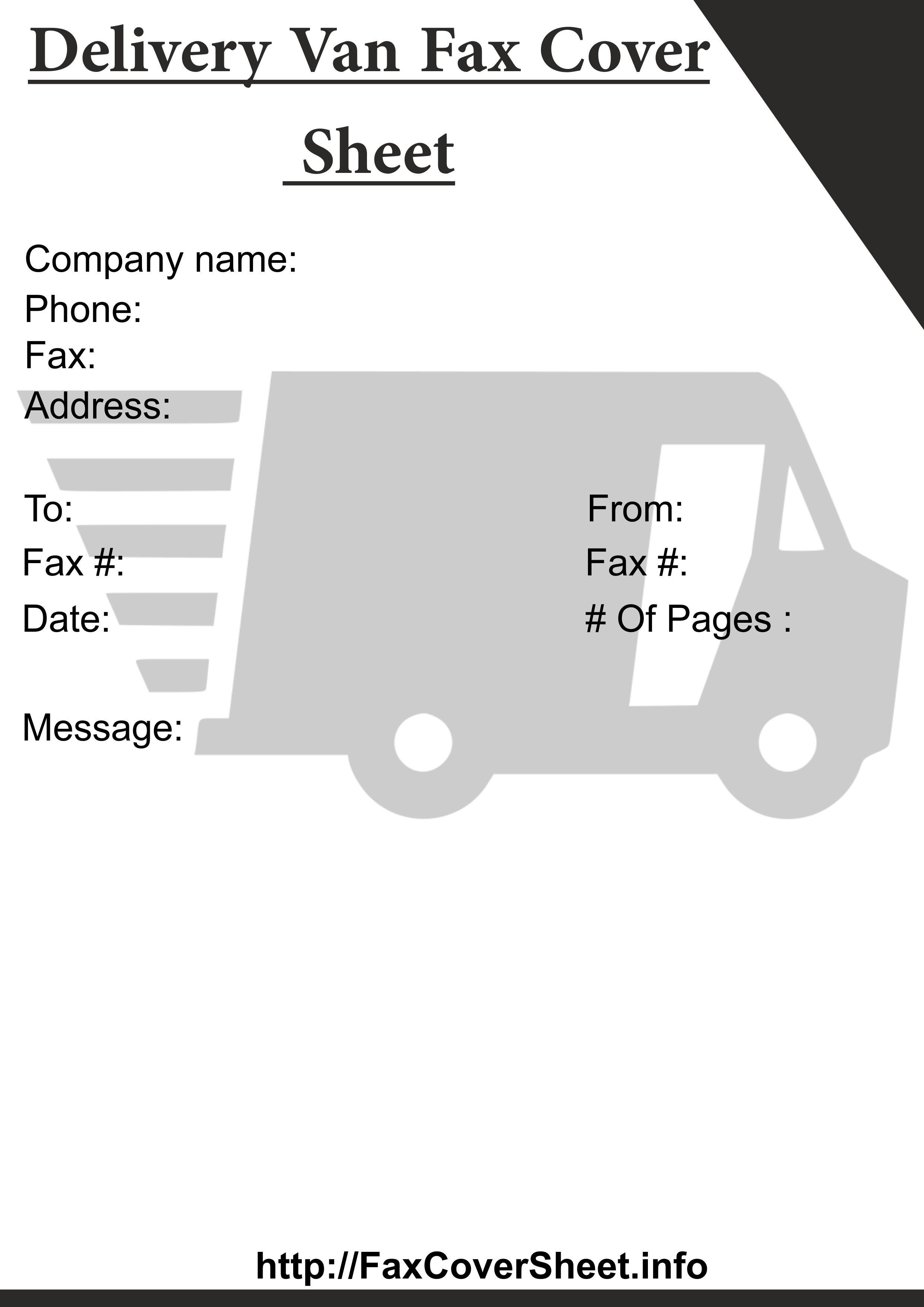 Delivery VanFaxCoverSheet Template