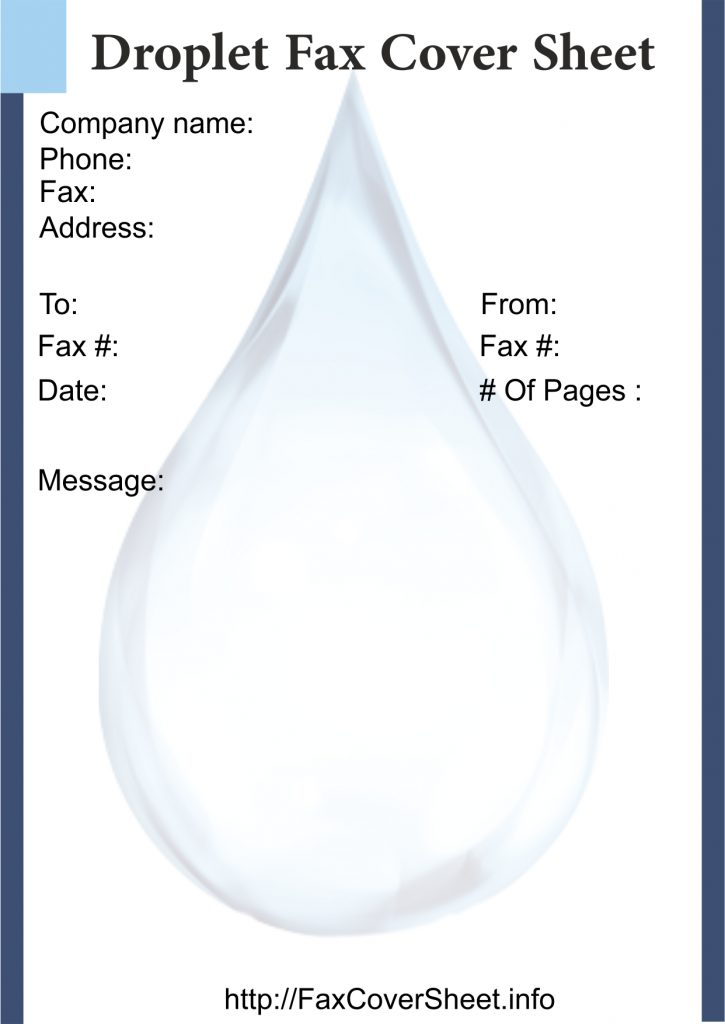 Droplets Fax Cover Sheet Templates