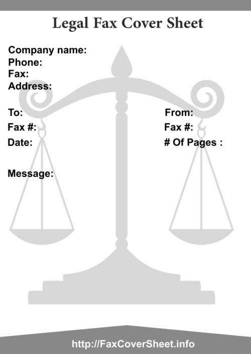 Legal Fax Cover Sheet