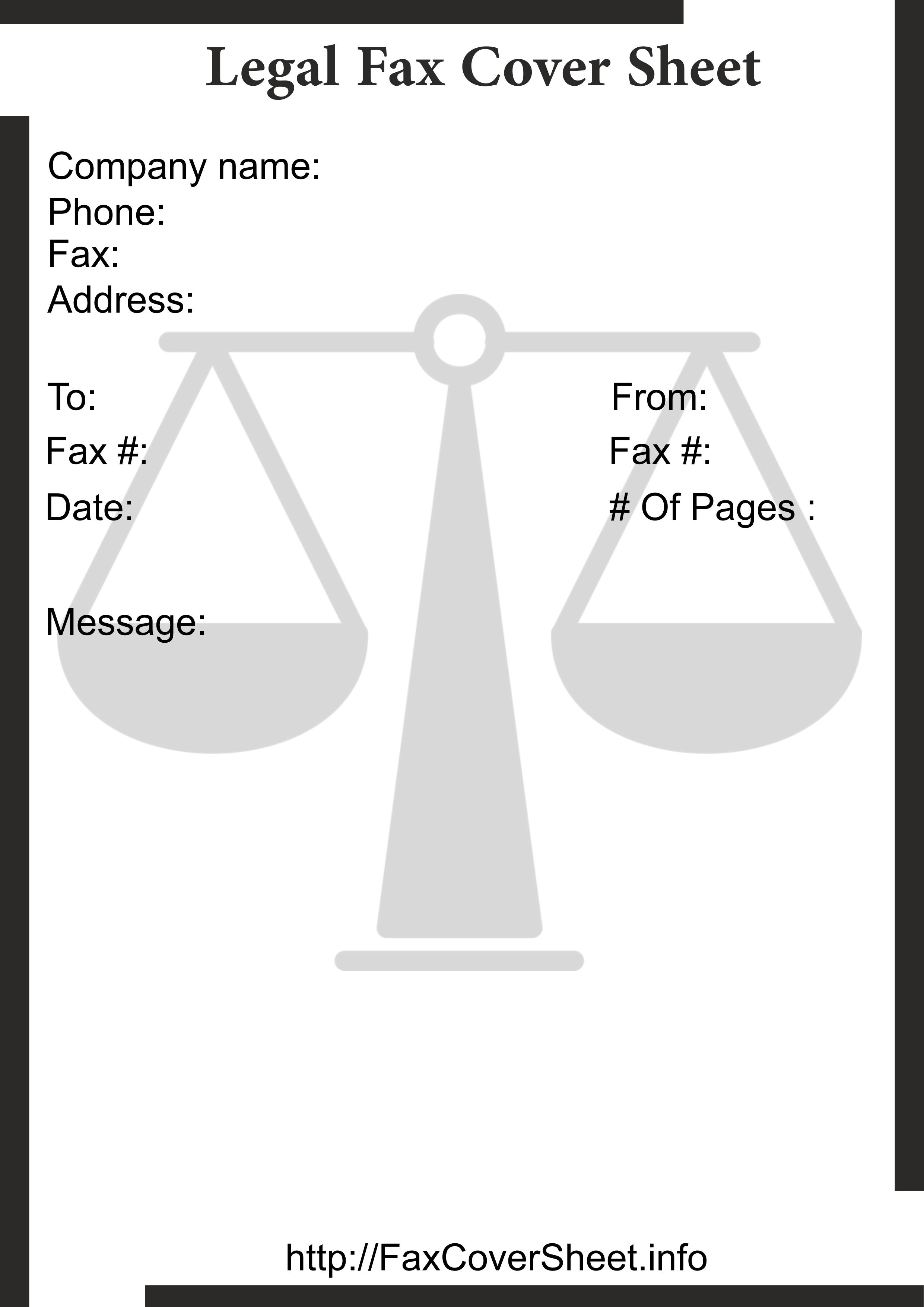 Legal Fax Cover Sheet Templates