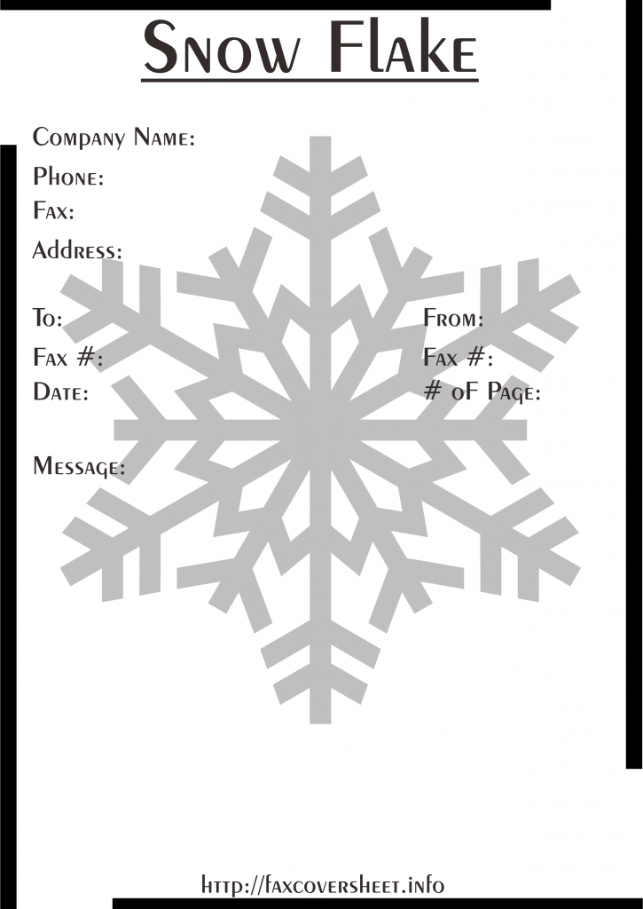 Snowflakes Fax Cover Sheet Templates