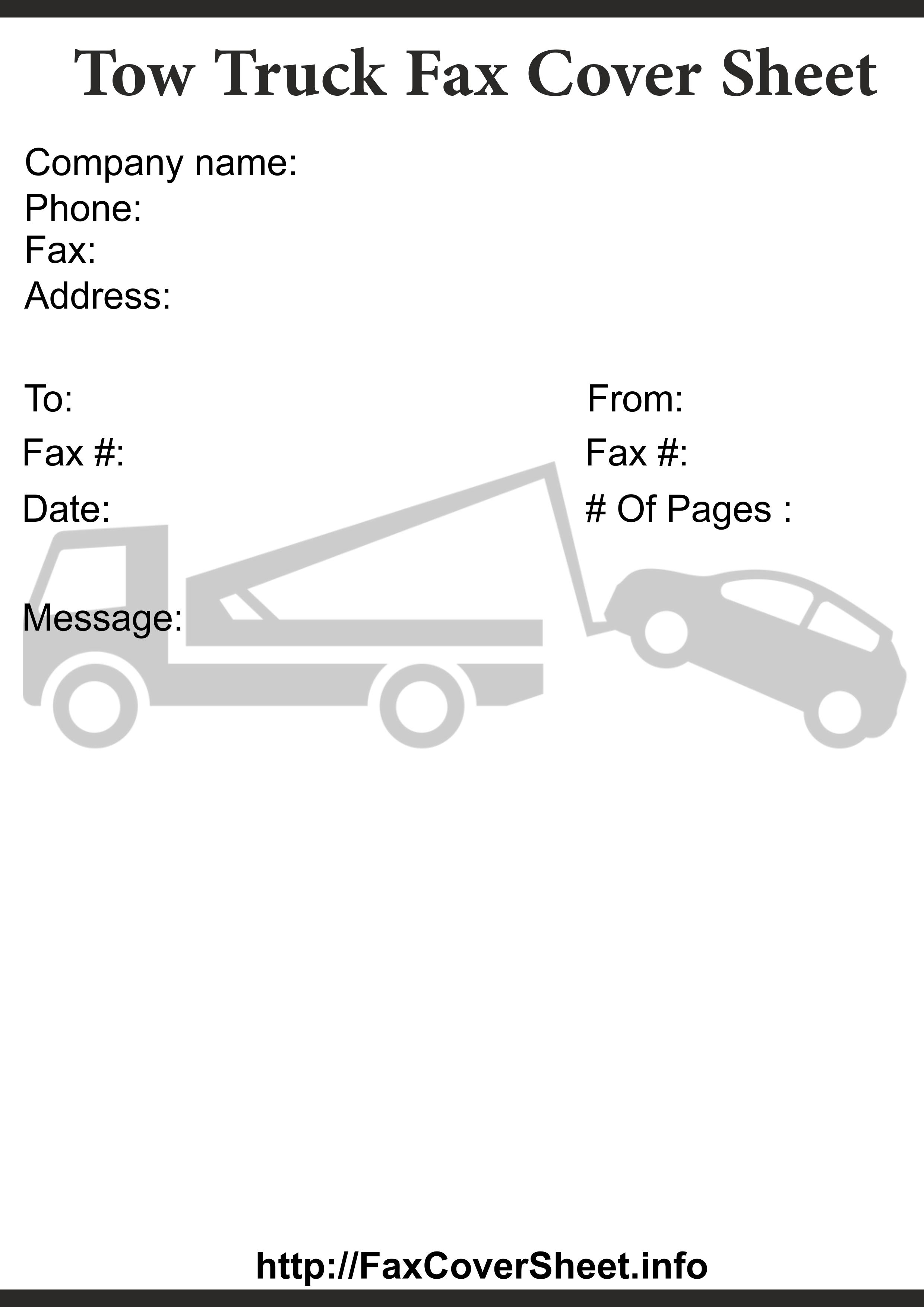 Tow TruckFaxCoverSheet Templates