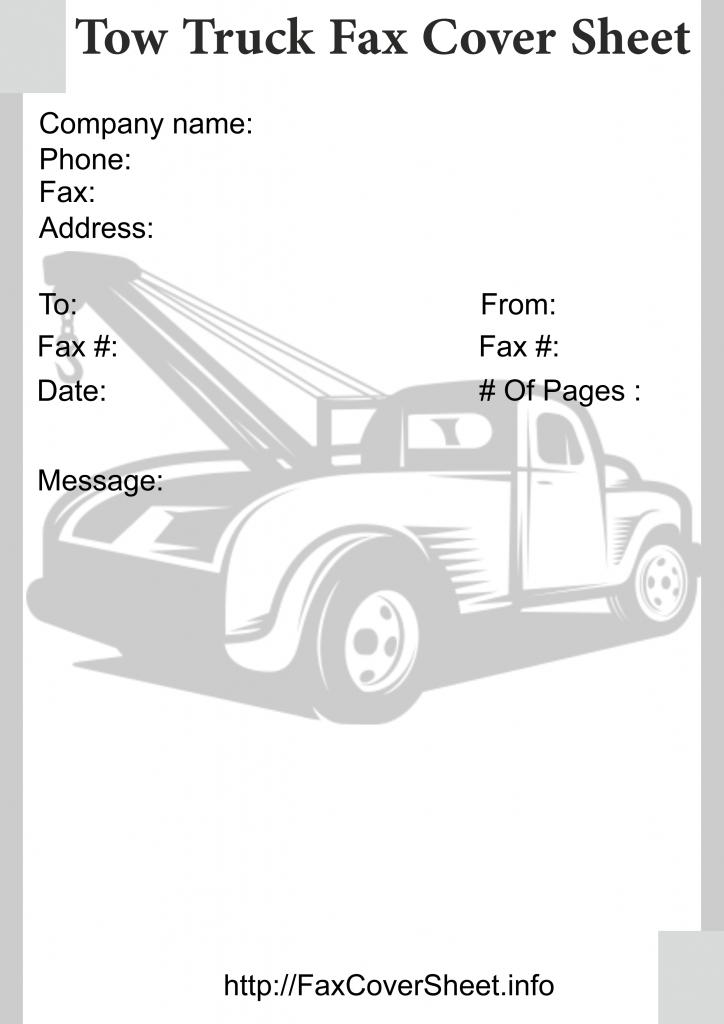 Free Tow TruckFaxCoverSheet