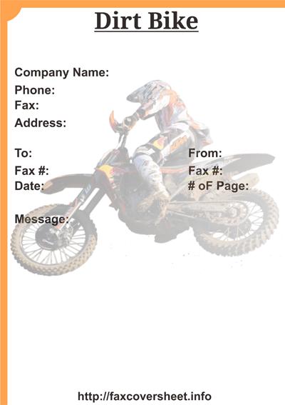 Dirt Bike Fax Cover Sheet Templates