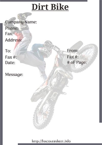 Free Dirt Bike Fax Cover Sheet