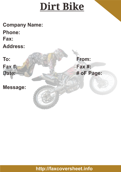 Dirt Bike Fax Cover Sheet
