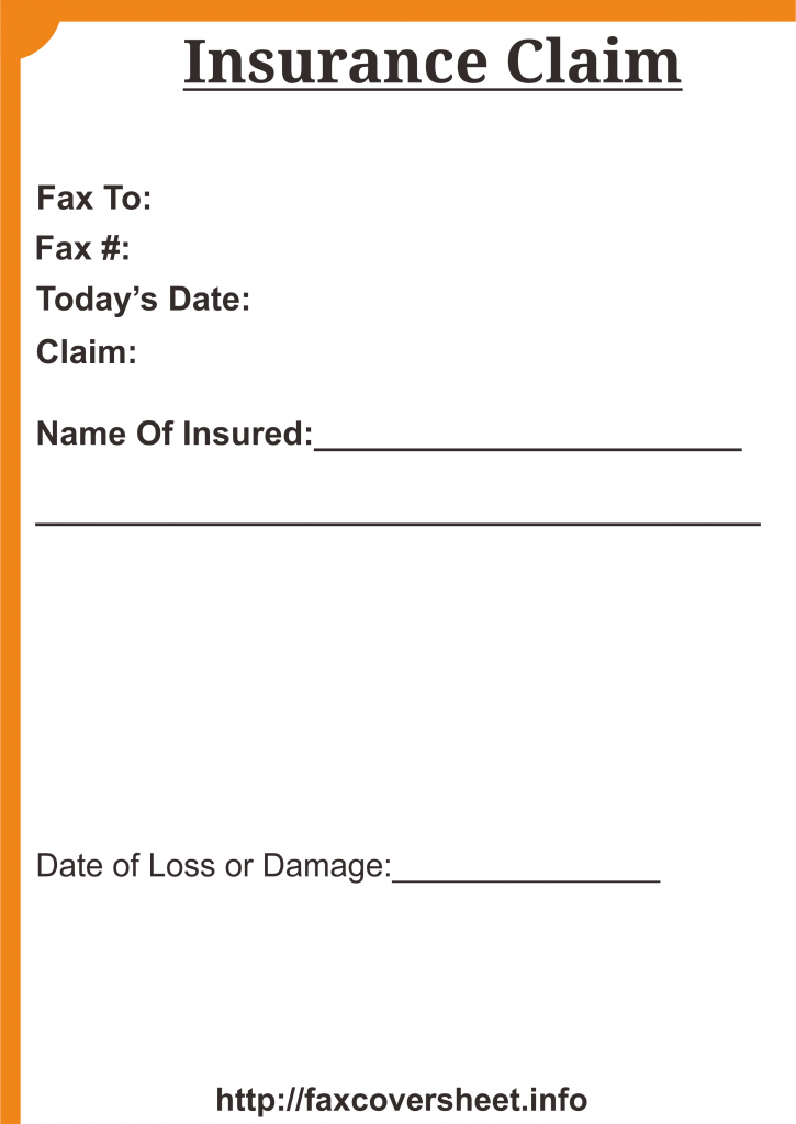Insurance Claim Fax Cover Sheet