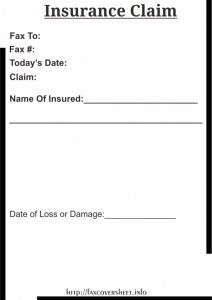 Free Insurance Claim Fax Cover Sheet