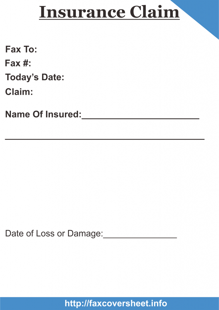 Insurance Claim Fax Cover Sheet Templates