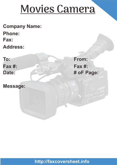 Free Movie Camera Fax Cover Sheet