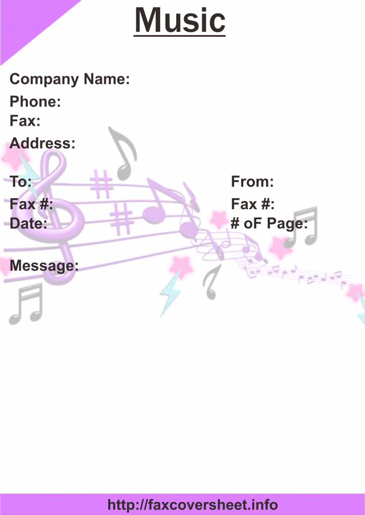 Music Fax Cover Sheet Templates