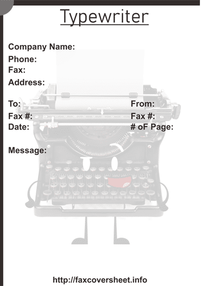 Typewriter Fax Cover Sheet