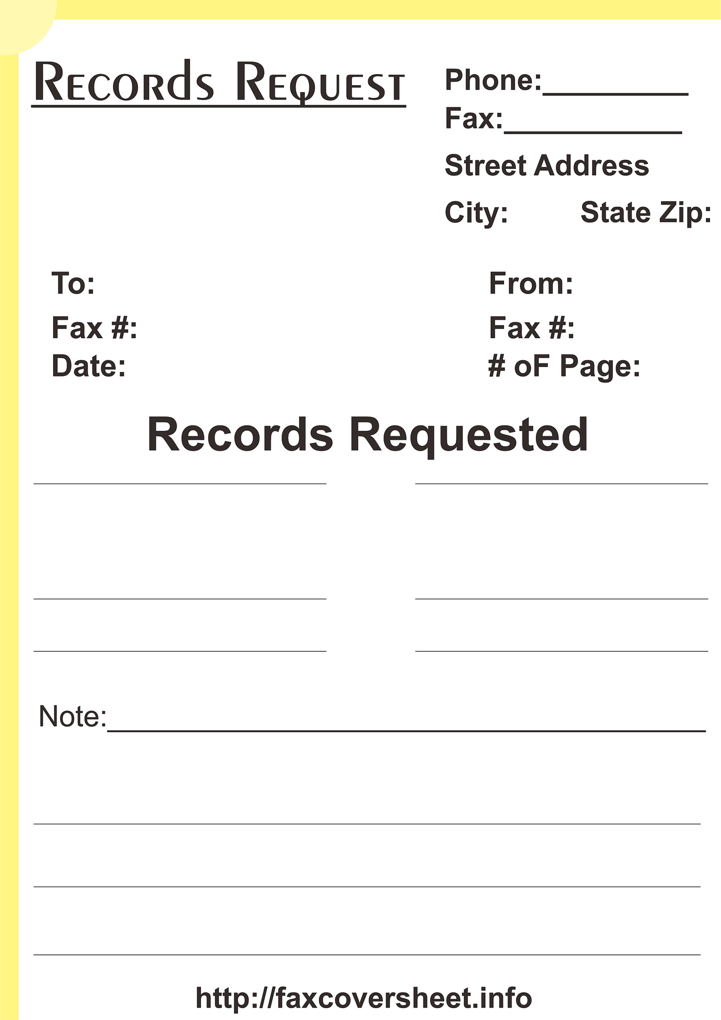 Record Request Fax Cover Sheet