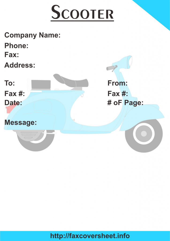 Scooter Fax Cover Sheet Templates