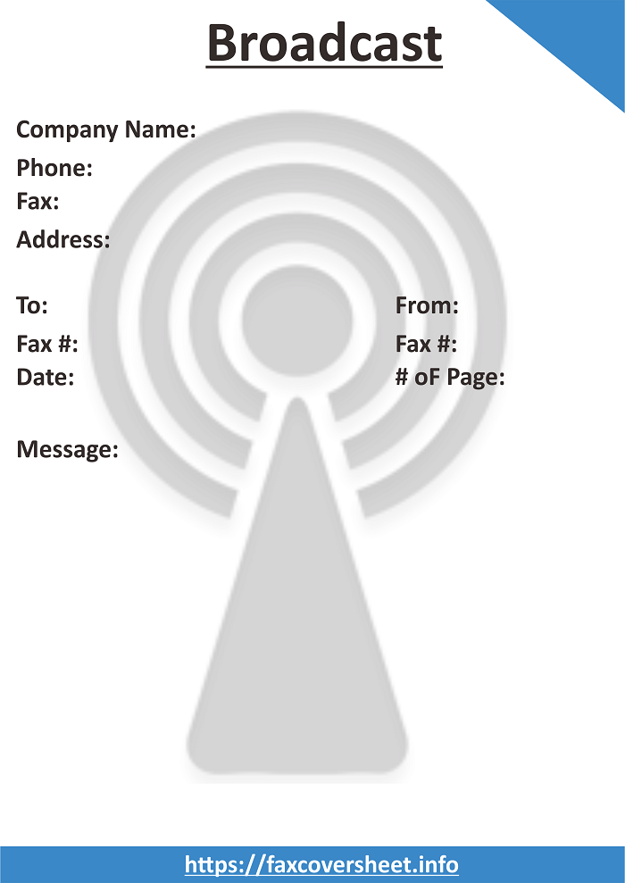 Free Broadcast Fax Cover Sheet