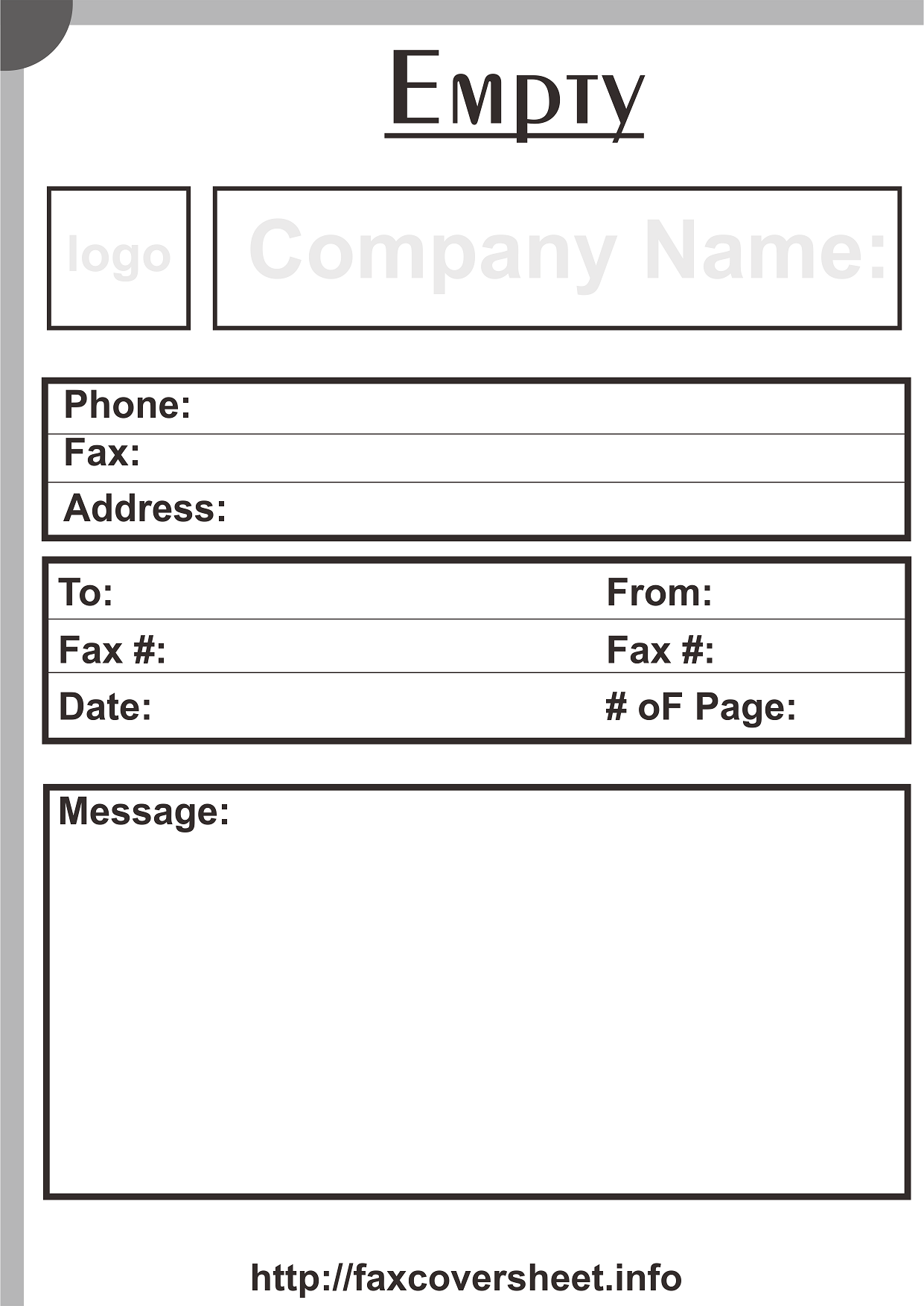Empty Logo Fax Cover Sheet
