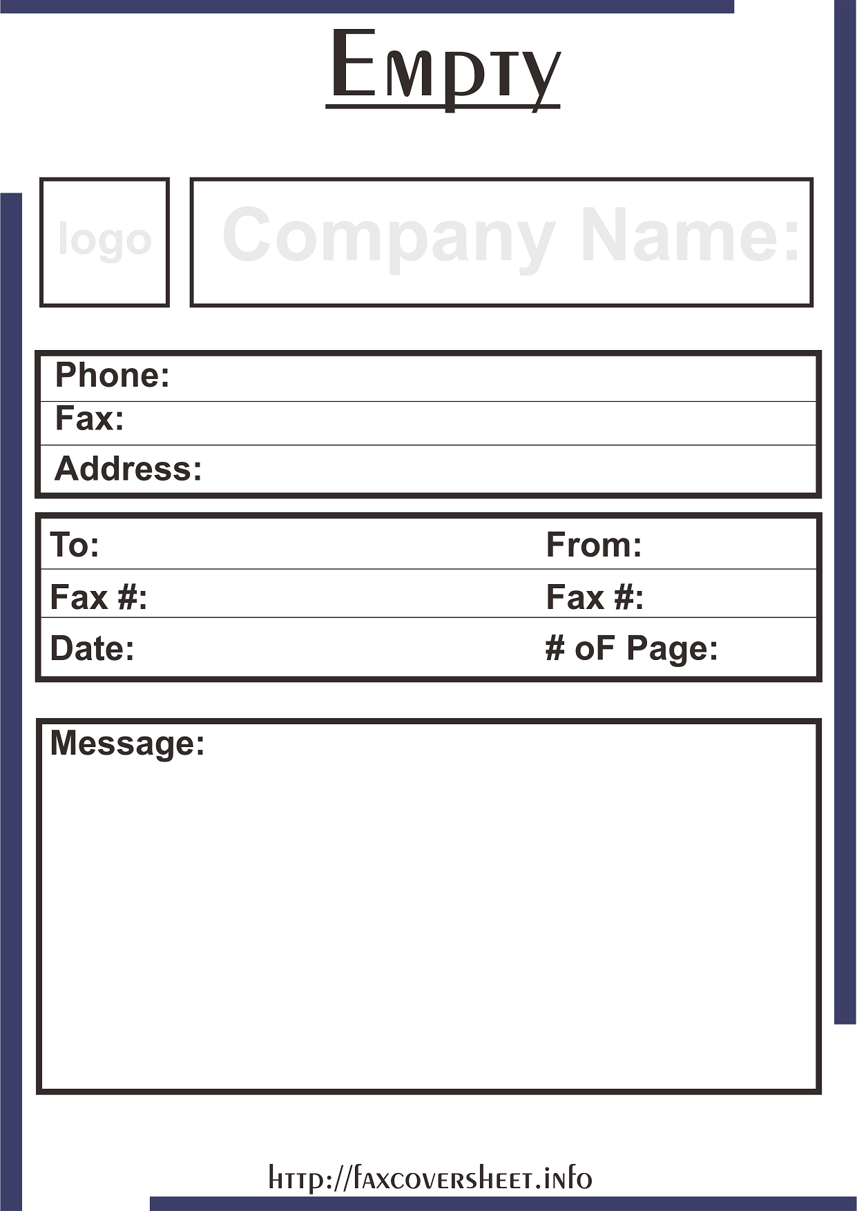 Empty Logo Fax Cover Sheet Templates